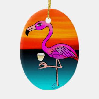 Ornamento De Cerâmica Flamingo do bebendo do vinho cor-de-rosa