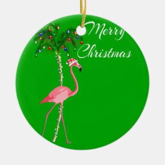 Ornamento De Cerâmica Flamingo do Feliz Natal