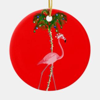 Ornamento De Cerâmica Flamingo do Natal