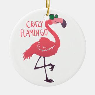 Ornamento De Cerâmica Flamingo louco