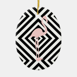 Ornamento De Cerâmica Flamingo - teste padrão geométrico abstrato - rosa