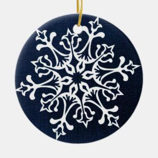 Ornamento De Cerâmica Floco de neve branco no azul