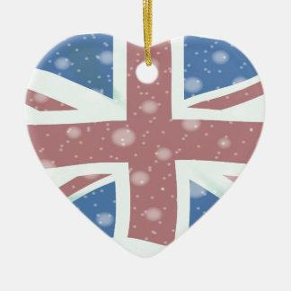 Ornamento De Cerâmica Flocos de neve da bandeira de Union Jack
