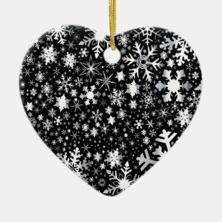 Ornamento De Cerâmica Flocos de neve de prata do Natal