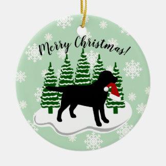 Ornamento De Cerâmica Flocos de neve pretos do Evergreen do Natal de