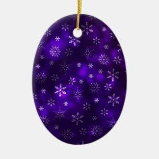 Ornamento De Cerâmica Flocos de neve violetas