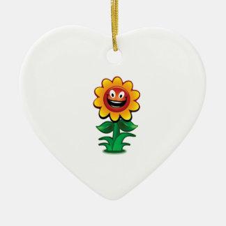 Ornamento De Cerâmica flor amarela dos sorrisos