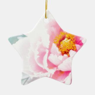 Ornamento De Cerâmica Flor cor-de-rosa chave alta da peônia