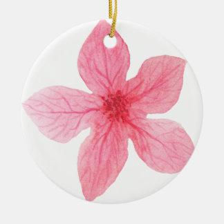 Ornamento De Cerâmica flor cor-de-rosa da aguarela