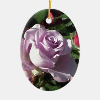 Ornamento De Cerâmica Flor cor-de-rosa da única violeta com rosas