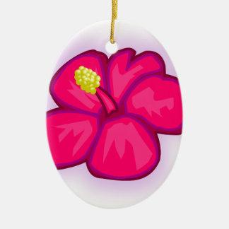 Ornamento De Cerâmica Flor cor-de-rosa de Havaí