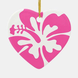 Ornamento De Cerâmica Flor cor-de-rosa do hibiscus