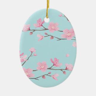 Ornamento De Cerâmica Flor de cerejeira - azul-céu