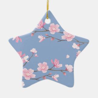 Ornamento De Cerâmica Flor de cerejeira - azul da serenidade