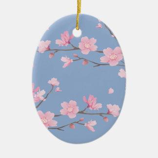 Ornamento De Cerâmica Flor de cerejeira - azul da serenidade - FELIZ
