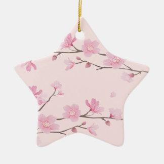 Ornamento De Cerâmica Flor de cerejeira - rosa