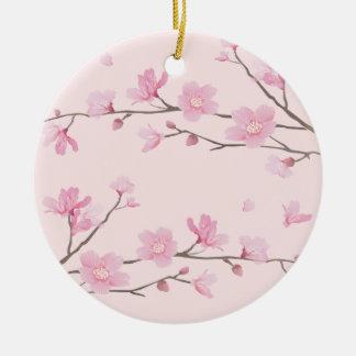 Ornamento De Cerâmica Flor de cerejeira - rosa - FELIZ ANIVERSARIO