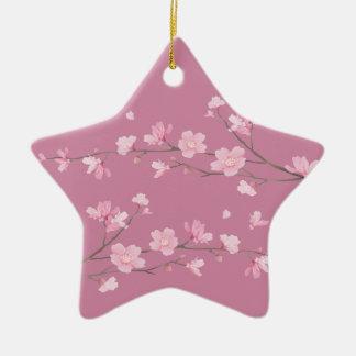 Ornamento De Cerâmica Flor de cerejeira - transparente - FELIZ