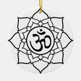 Ornamento De Cerâmica Flor de Lotus, preta com fundo branco
