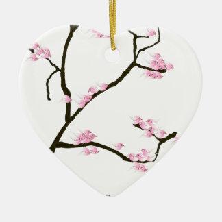 Ornamento De Cerâmica flor de sakura com pássaros cor-de-rosa, fernandes