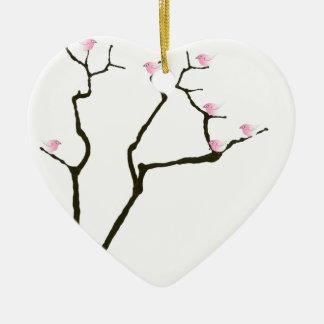 Ornamento De Cerâmica flor de sakura e pássaros cor-de-rosa, fernandes