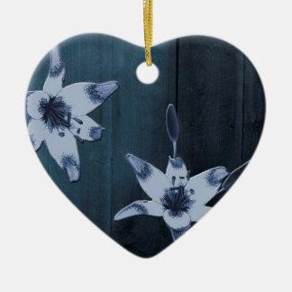 Ornamento De Cerâmica Flor do azul do salgueiro