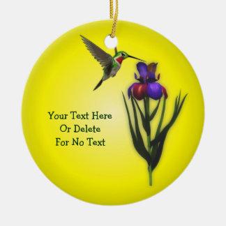 Ornamento De Cerâmica Flor do colibri e da íris personalizada