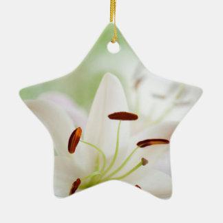 Ornamento De Cerâmica Flor do lírio branco inteiramente aberta