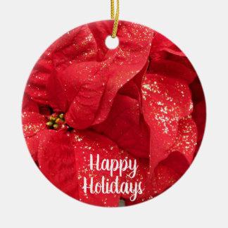 Ornamento De Cerâmica Flor vermelha do Natal com pó dourado