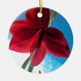 Ornamento De Cerâmica flor vermelha vívida do Amaryllis 108a