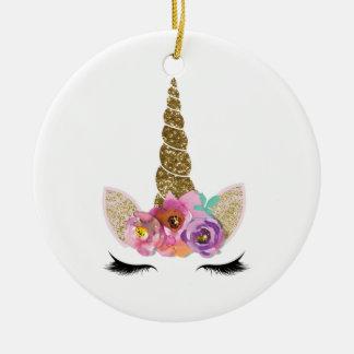 Ornamento De Cerâmica Floral do chifre do unicórnio do brilho do ouro