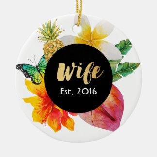 Ornamento De Cerâmica Floral tropical da esposa do roteiro do ouro