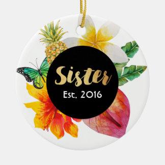 Ornamento De Cerâmica Floral tropical da irmã do roteiro do ouro