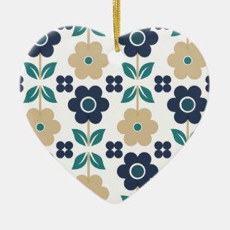 Ornamento De Cerâmica Flores azuis/bege retros Dble-tomaram partido