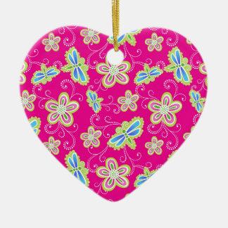 Ornamento De Cerâmica Flores bonitos, libélulas e redemoinhos no rosa