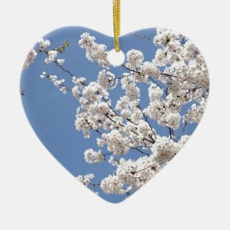 Ornamento De Cerâmica Flores brancas da cereja
