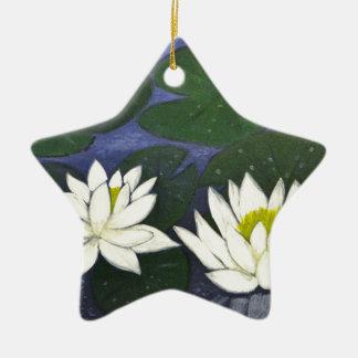 Ornamento De Cerâmica Flores brancas de Waterlily, pintura acrílica
