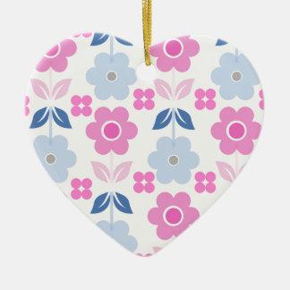 Ornamento De Cerâmica Flores cor-de-rosa/azuis retros Dble-tomaram
