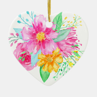 Ornamento De Cerâmica Flores cor-de-rosa da aguarela