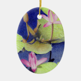 Ornamento De Cerâmica Flores cor-de-rosa de Lotus Waterlily
