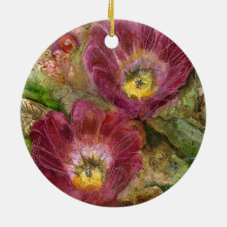 Ornamento De Cerâmica Flores cor-de-rosa do deserto da arizona
