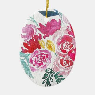 Ornamento De Cerâmica Flores da aguarela