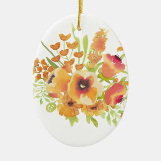 Ornamento De Cerâmica Flores das aguarelas