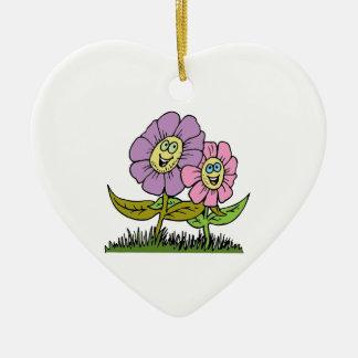 Ornamento De Cerâmica Flores do smiley