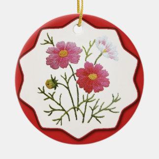 Ornamento De Cerâmica Flores do vintage no guingão