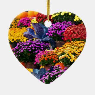 Ornamento De Cerâmica Flores e abóboras