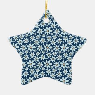 Ornamento De Cerâmica Flores em azul escuro