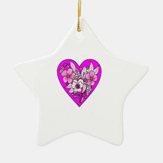Ornamento De Cerâmica Flores em um coração