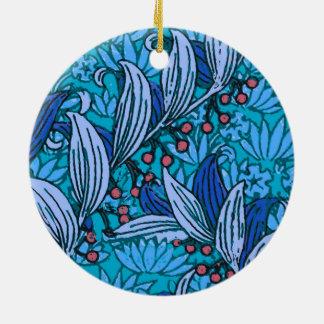 Ornamento De Cerâmica Flores florais azuis do Batik