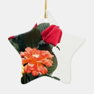 Ornamento De Cerâmica Flores Multi-Coloridas